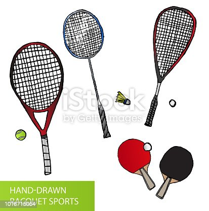 Vector set of sketch or hand drawn illustrations of racquet sports - equipment for tennis, table tennis, badminton and squash - rackets and balls isolated on white background