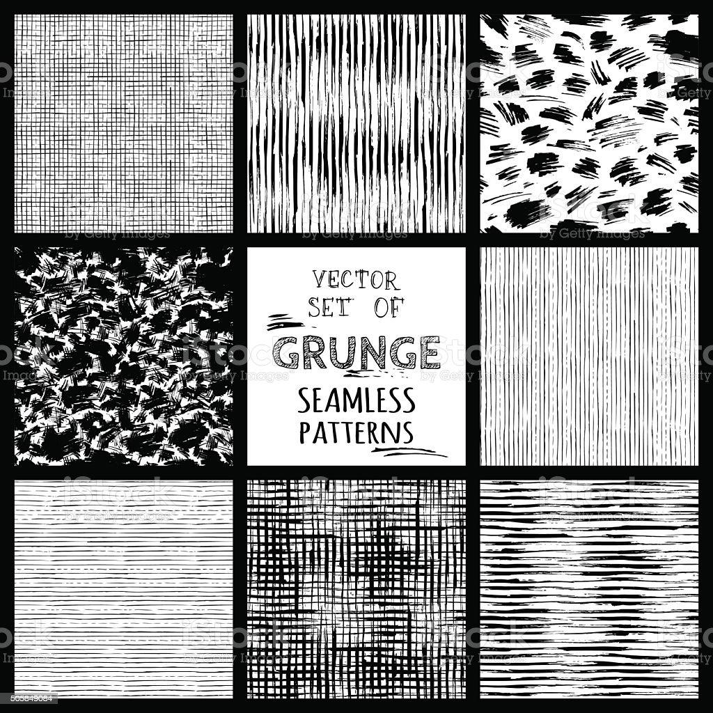 Set of hand-drawn seamless brush strokes patterns. vector art illustration