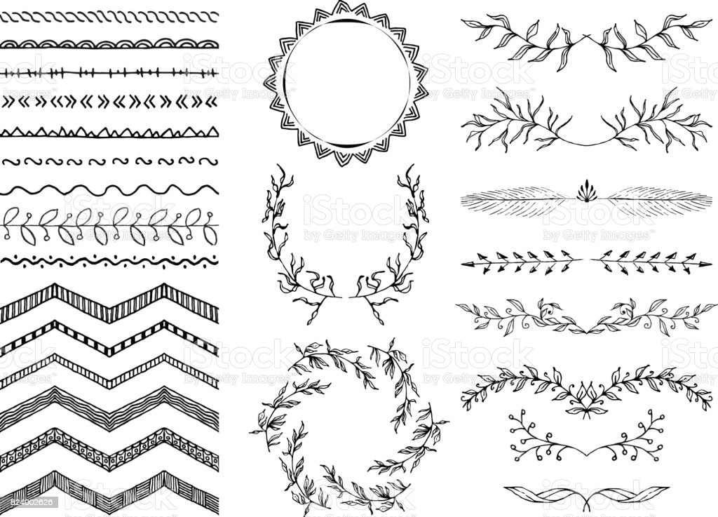 Set Of Hand Drawn Seamless Doodle Borders Sketch Style Vector Illustration Rustic Decorative