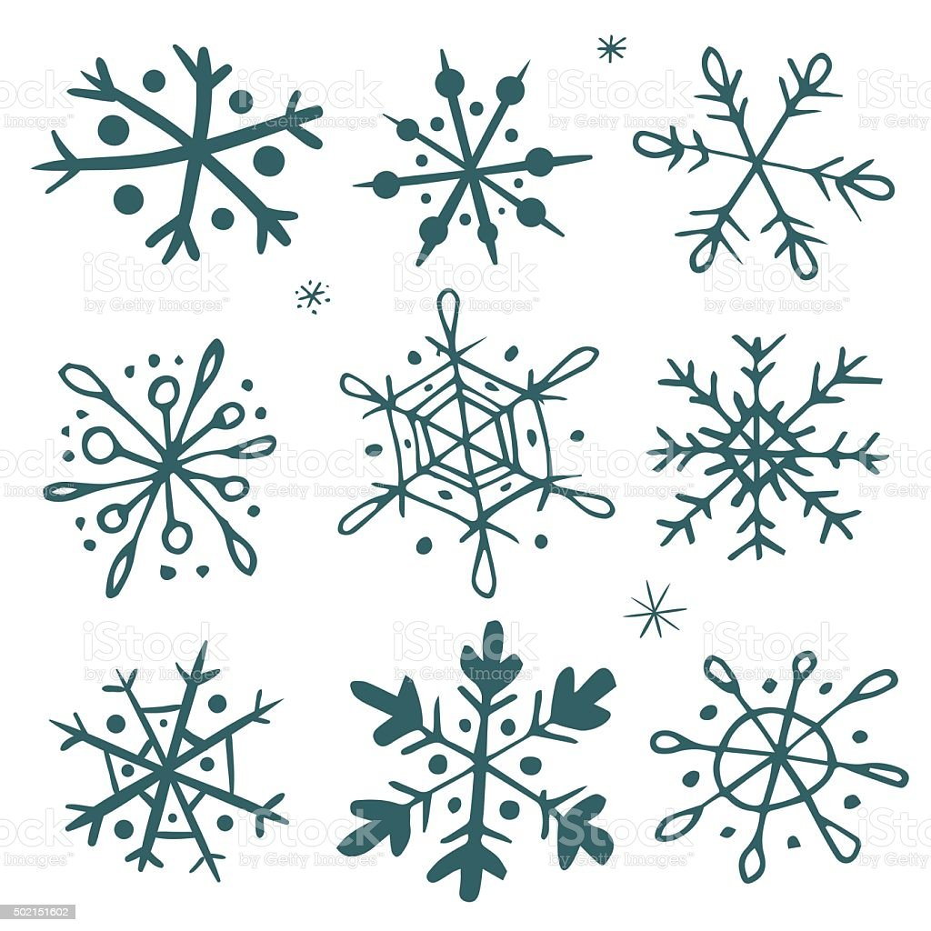 Set of hand-drawn snowflakes vector art illustration