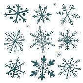 Set of hand-drawn snowflakes