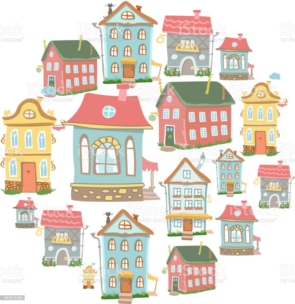 set of hand-drawn vector Cute cartoon houses vector art illustration
