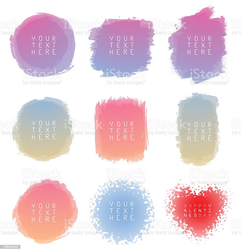 Set of hand-drawn watercolor brush strokes vector art illustration