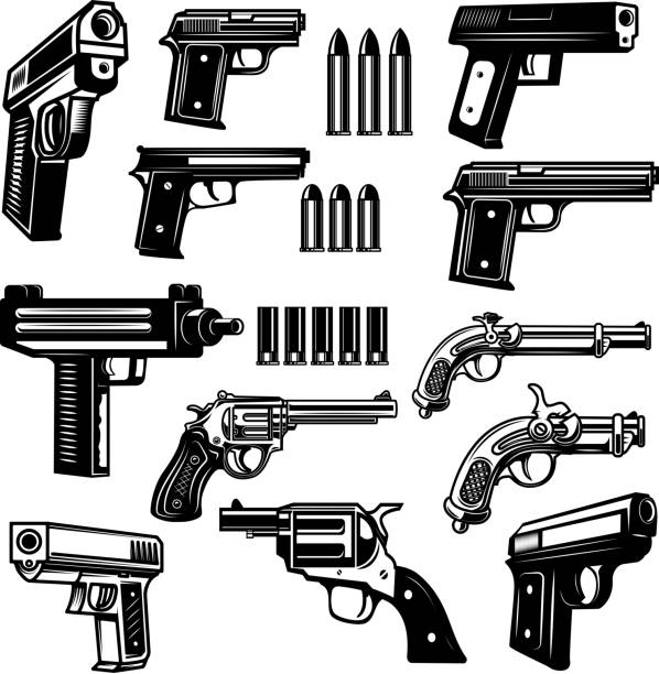 Set of handgun, revolver illustrations. Design elements for  label, emblem, sign, badge. Set of handgun, revolver illustrations. Design elements for  label, emblem, sign, badge. Vector illustration pistol stock illustrations