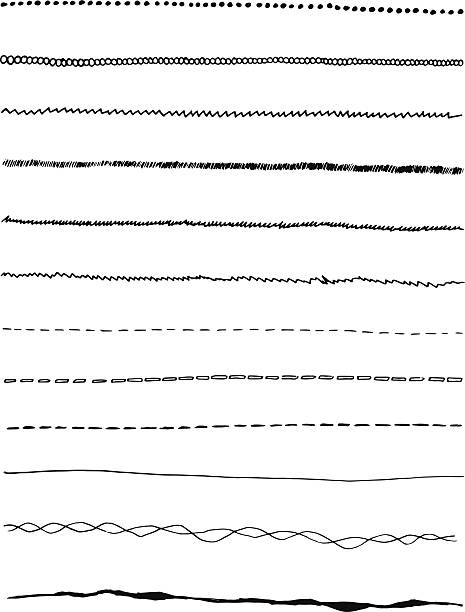Set of handmade lines A Set of 10 handmade lines and converted into vector graphic. hyphen stock illustrations