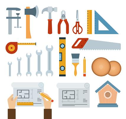 Set of Handmade, Woodwork, Equipment, Work tools. icons flat vector illustration