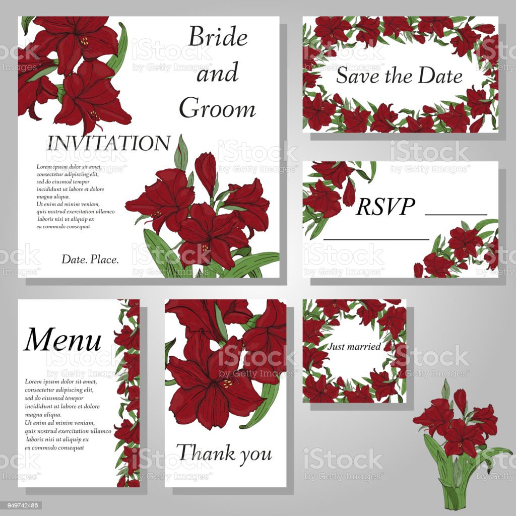 Set of handpainted flower wedding invitation card. vector art illustration