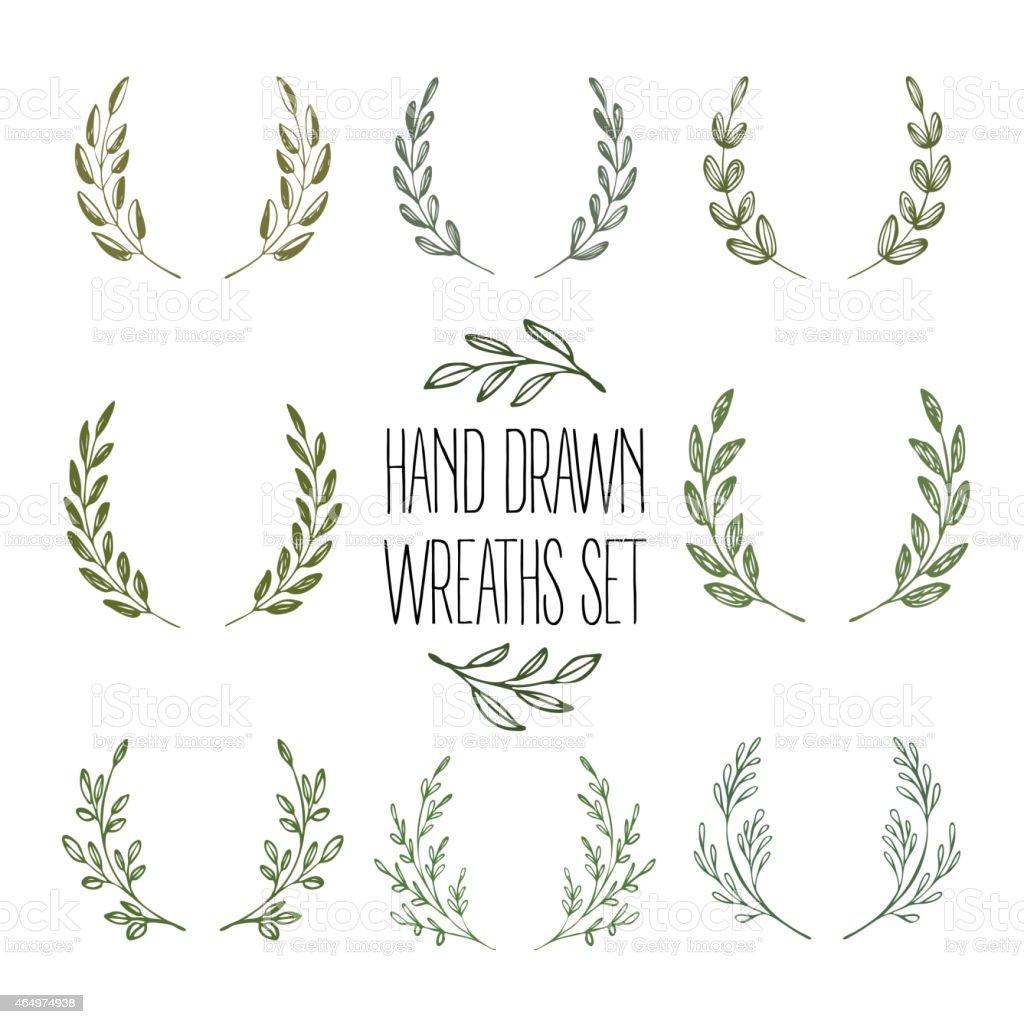 Set of hands drawn decorative wreaths. Vector illustration vector art illustration
