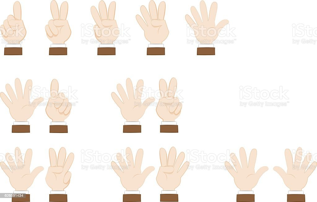 Set of hands gesturing and showing numbers vector art illustration