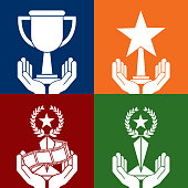 set of hands holding differents trophies color background