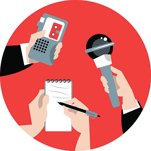 stockillustraties, clipart, cartoons en iconen met set of hands holding microphone, voice recorder and spiral notebook. - journalist