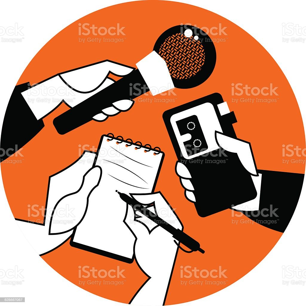 Set of hands holding microphone, voice recorder and spiral notebook. vector art illustration