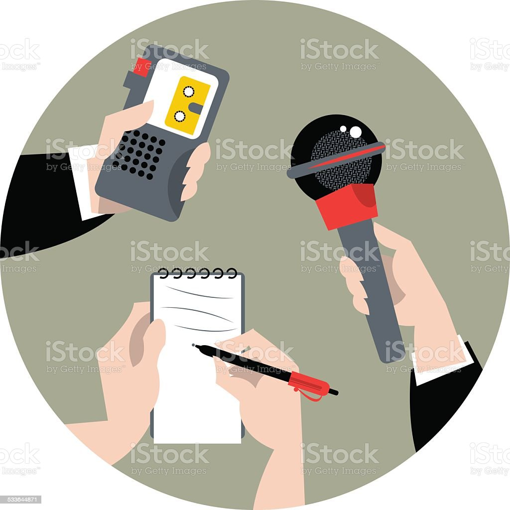 Set Of Hands Holding Microphone Voice Recorder And Spiral Notebook Speech Royalty Free