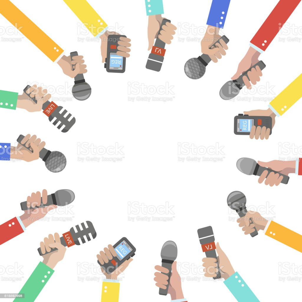 Set of hands holding microphones and voice recorders. vector art illustration