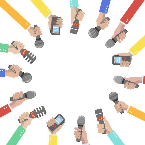 Ein Satz von Hand halten Mikrofone und Aufzeichnungsgeräten. – Vektorgrafik