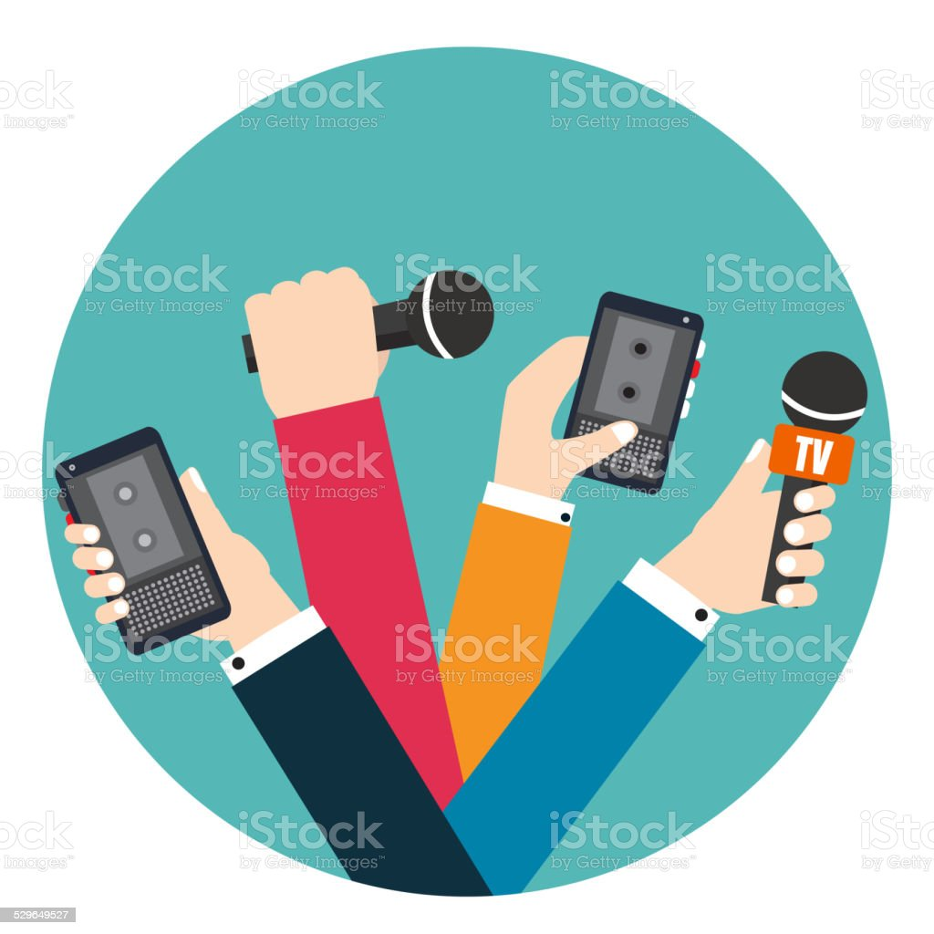 Set of hands holding voice recorders and microphones. Live news. vector art illustration