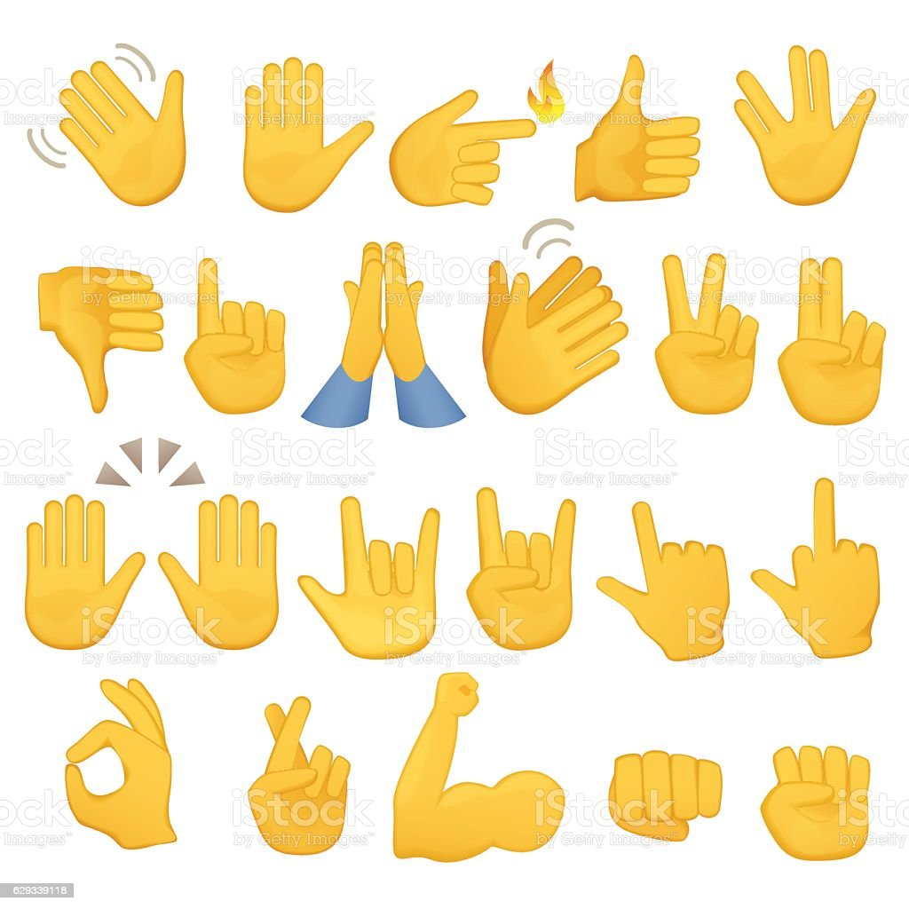 Set of hands icons and symbols. Emoji hand . Different gestures – Vektorgrafik