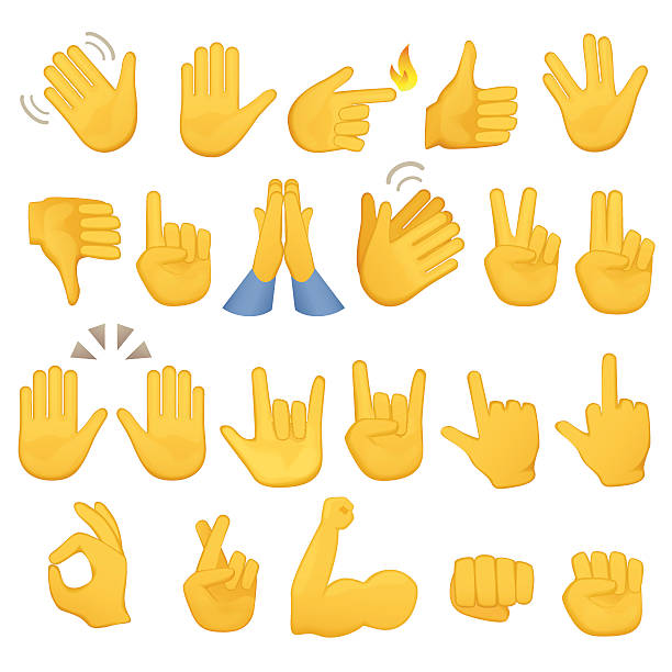 illustrations, cliparts, dessins animés et icônes de set of hands icons and symbols. emoji hand . different gestures - emoji