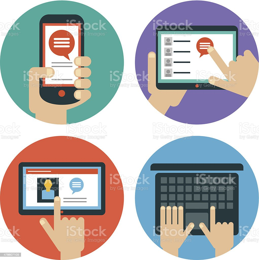 Set of hands touching  tablet, laptop and smart phone vector art illustration