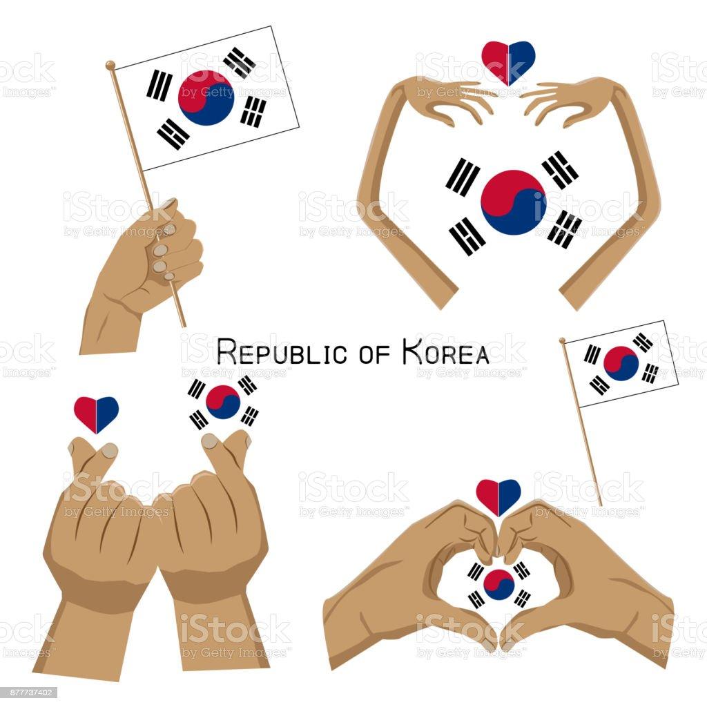 conjunto de mãos com a bandeira da Coreia do Sul - ilustração de arte em vetor
