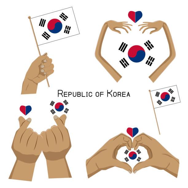 ilustrações, clipart, desenhos animados e ícones de conjunto de mãos com a bandeira da coreia do sul - bandeira da coreia