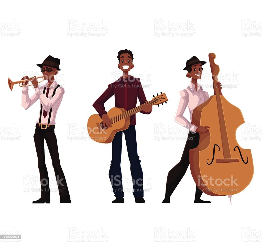 Set of handsome African male trumpet, guitar and contrabass players vector art illustration