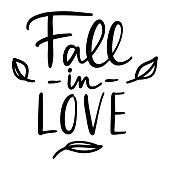 Set of handwritten autumn season inscriptions. Vector hand lettering Fall in Love.