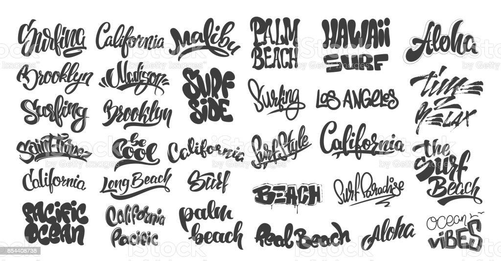 Set of handwritten city names and surf lettering. emblem and badges vector vector art illustration