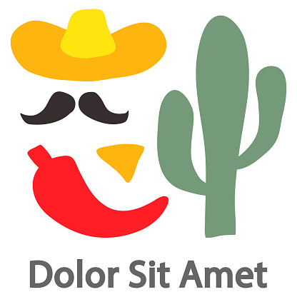 Set of handwritten decorative colorful design elements hand drawn in trendy style-hat, mustache, chili pepper, cactus, nachos sample text. Colorful vector illustration for T-shirt print, poster, ect.