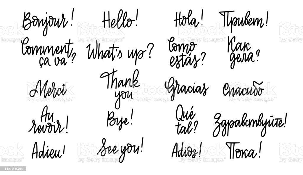 Ilustración De Conjunto De Palabras Y Frases De Garabatos