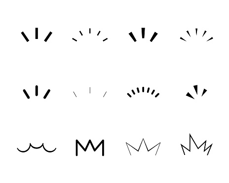 A set of handwritten icons that show surprises, inspiration, awareness, attention, points, etc.