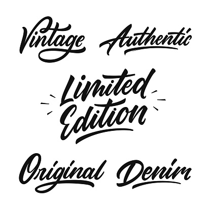 Set of handwritten inscriptions for label, badge and print.