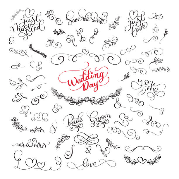 Royalty free silhouette of the wedding stage decoration ideas clip set of handwritten lettering calligraphy positive quotes about love and wedding and valentines day romantic junglespirit Gallery