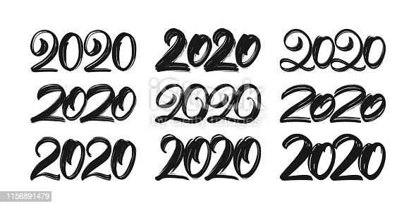 Vector illustration: Set of Handwritten textured lettering of 2020. Happy New Year. Chines calligraphy