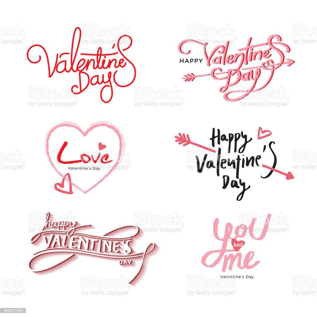 Set of handwritten Valentine's day texts vector art illustration