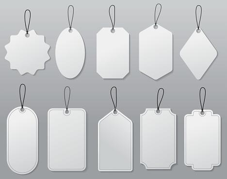 set of hanging label price or blank white paper price tag or empty badges label set of hanging label price or blank white paper price tag or empty badges label