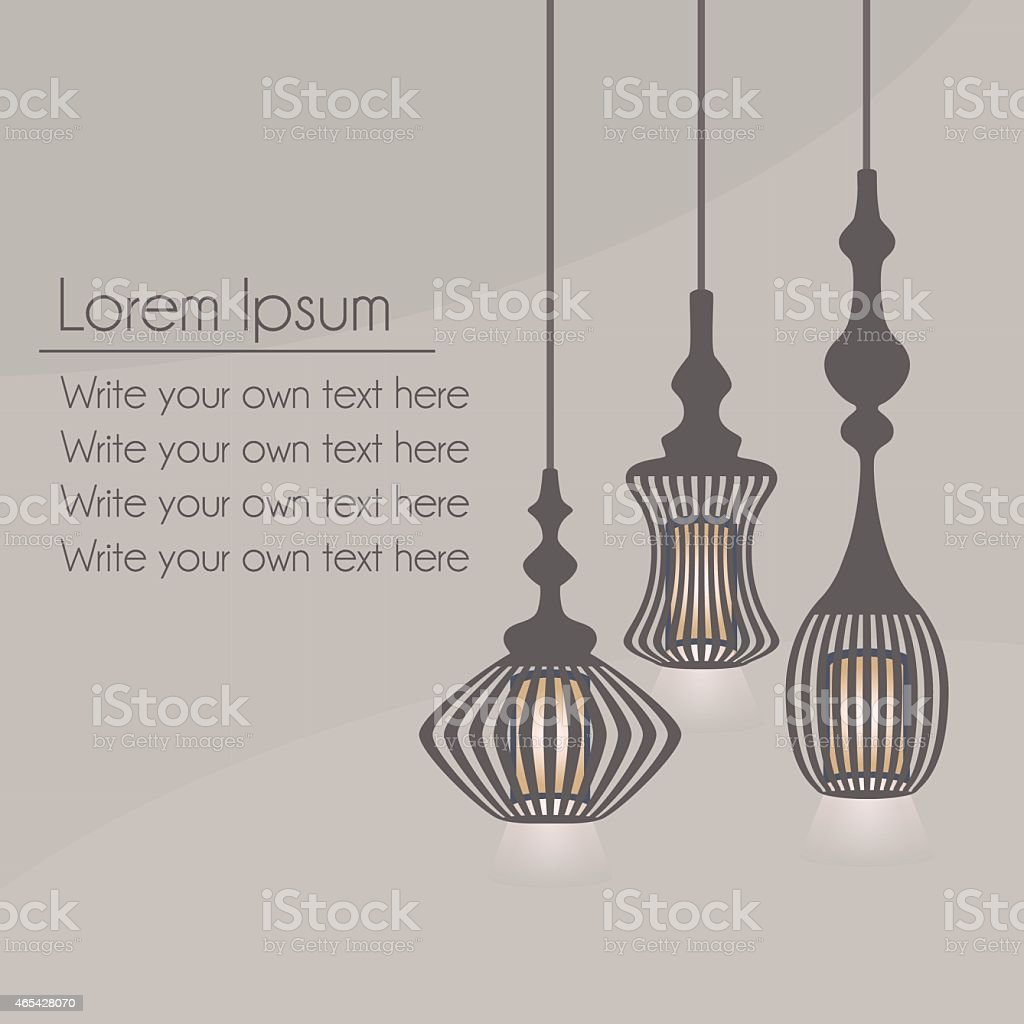 Set of hanging lanterns light chandeliers on gray background vector art illustration
