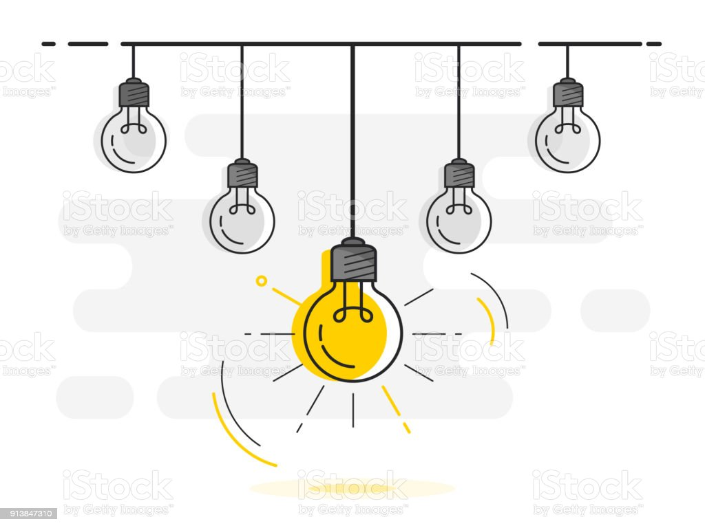 Set Of Hanging Light Bulbs With One Glowing Trendy Flat Vector Bulb Icons