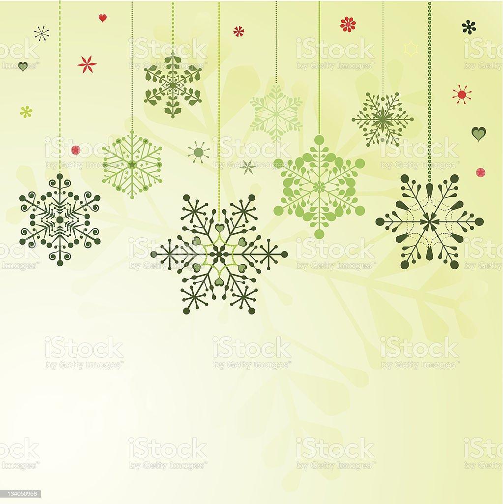 Set of hanging snowflakes vector art illustration