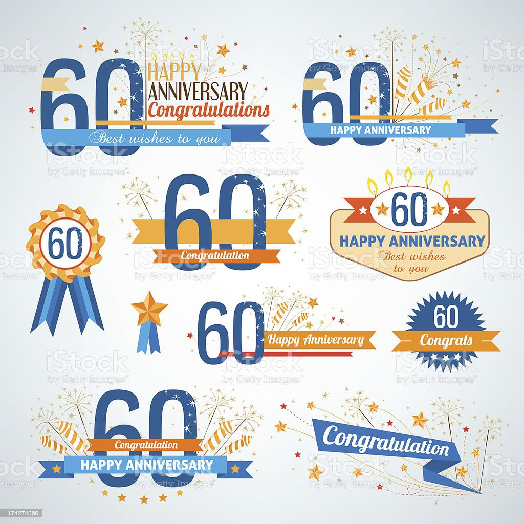 Set of Happy 60th Anniversary design elements vector art illustration