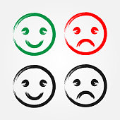 Set of happy and sad smiley drawn with brush. Grunge. Green, red, black.