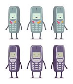 Set of happy and unhappy retro cell phones