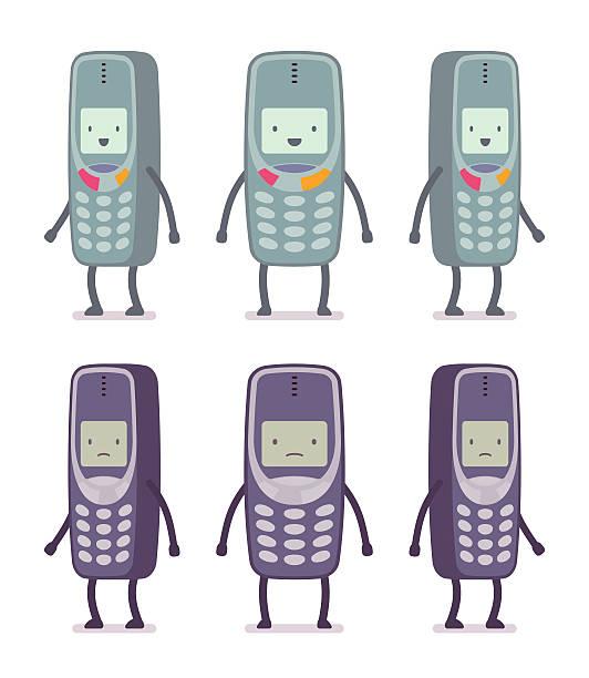 bildbanksillustrationer, clip art samt tecknat material och ikoner med set of happy and unhappy retro cell phones - det förflutna