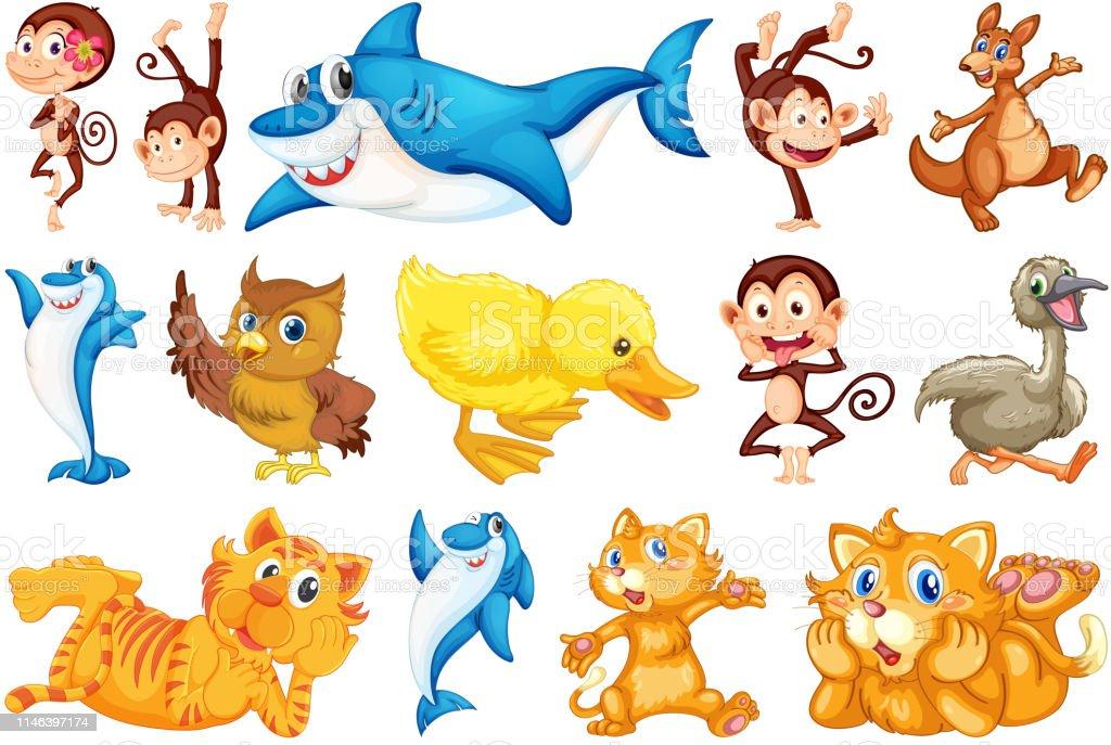 Set of happy animal illustration