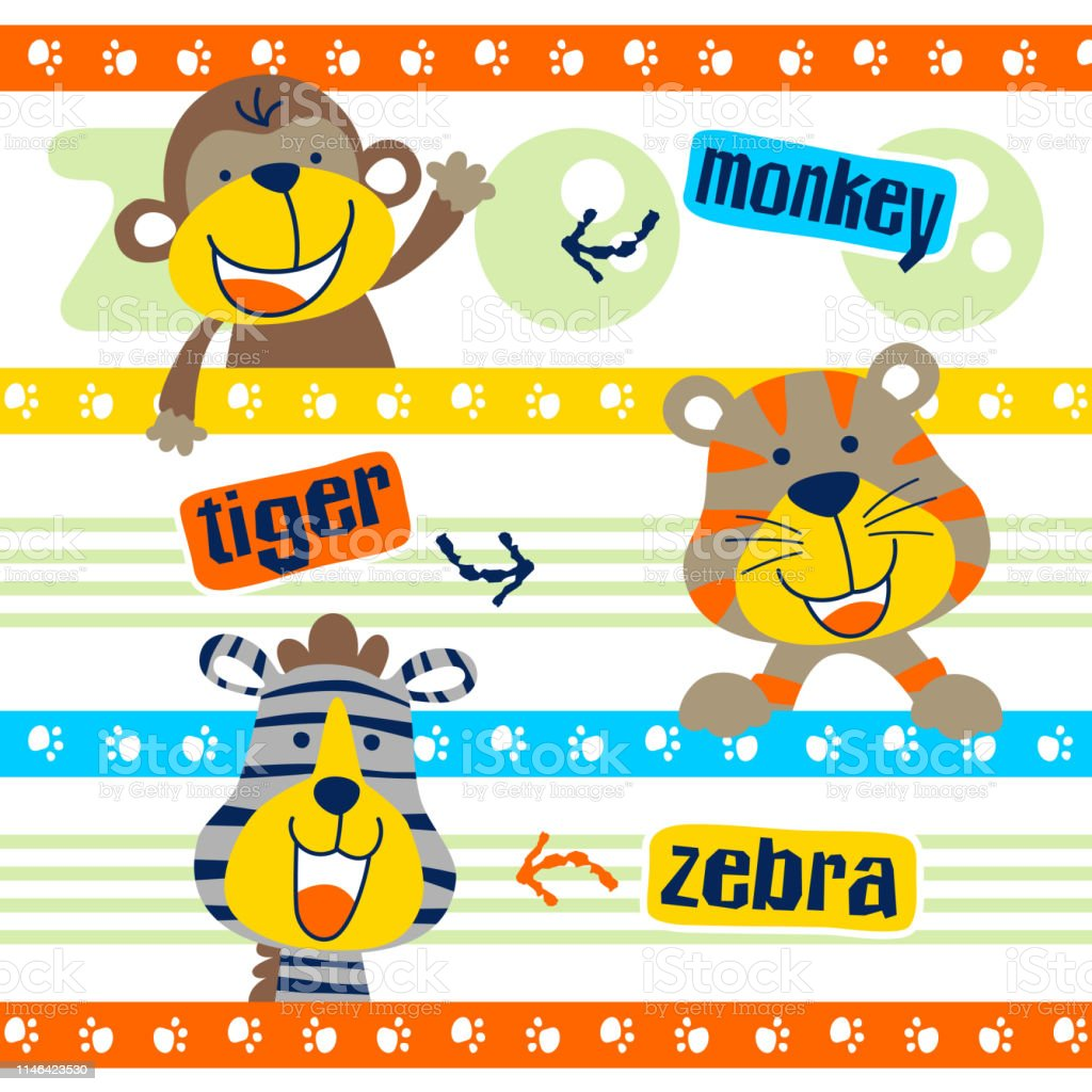 set of happy animals cartoon on striped background, vector cartoon...