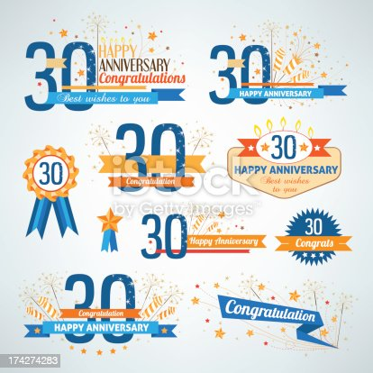 Set of happy anniversary labels.