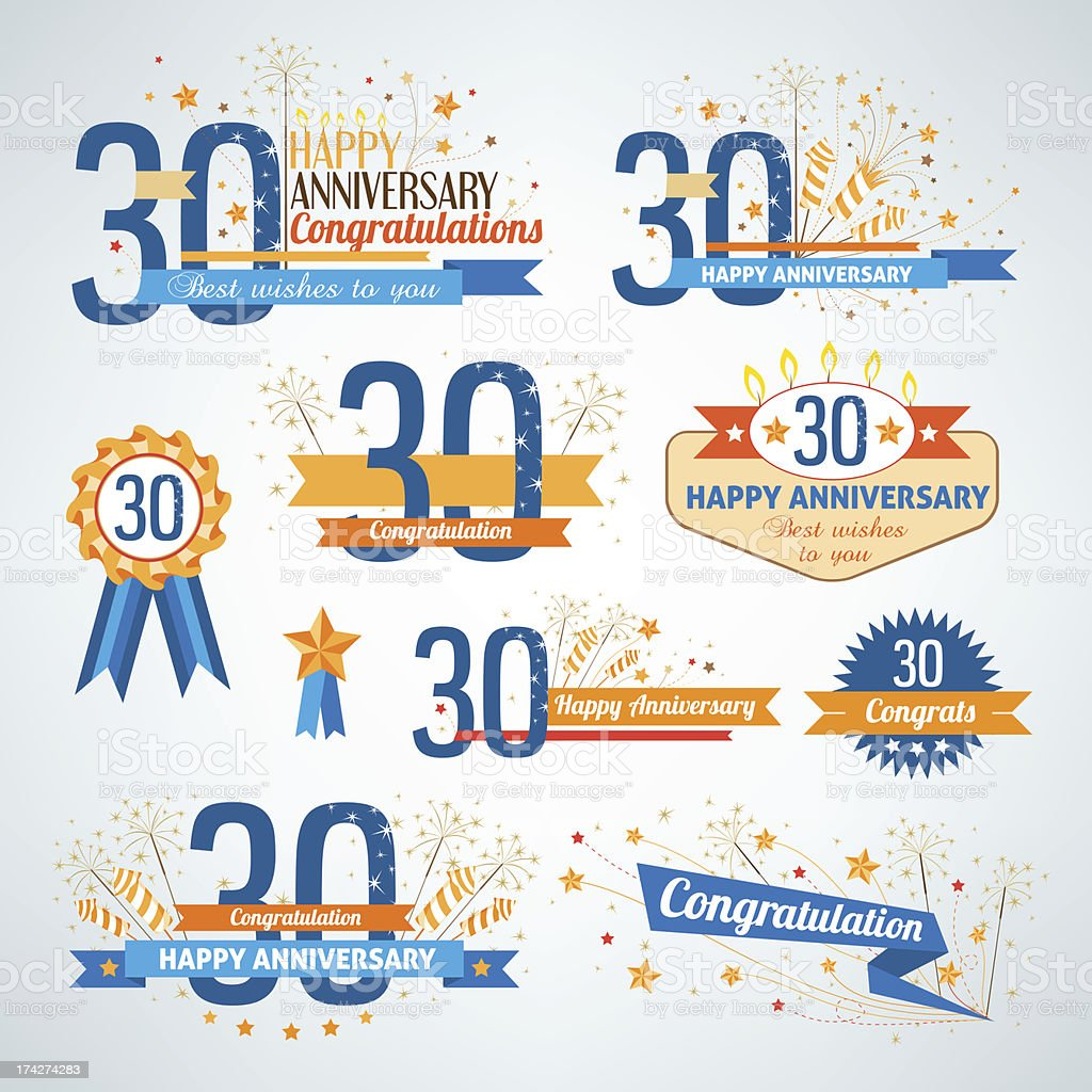 Set of happy anniversary design elements vector art illustration