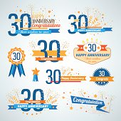 Set of happy anniversary design elements