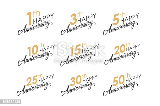 Set of Happy Anniversary greeting templates with numbers and hand lettering. Vector illustration.