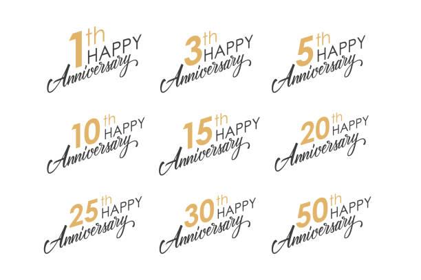 ilustrações, clipart, desenhos animados e ícones de conjunto de feliz aniversário saudando modelos com números e letras de mão. - data especial